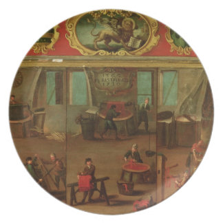 Cloth Dyers Demonstrating their Trade and Skills Party Plate