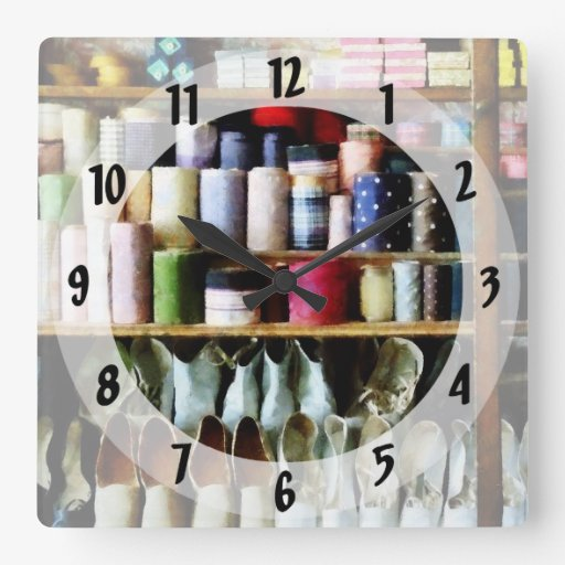 Cloth in General Store Square Wall Clock