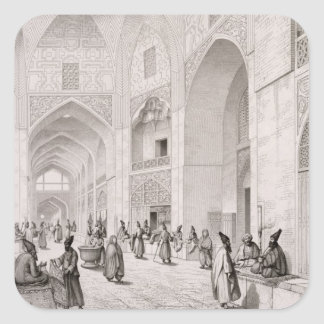 Cloth Market, in Isfahan, from 'Voyage Pittoresque Square Sticker
