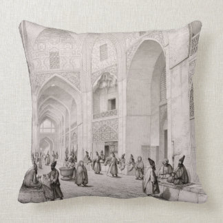 Cloth Market, in Isfahan, from 'Voyage Pittoresque Throw Pillow