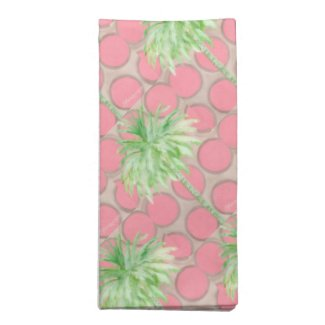 Cloth Napkins Pink Polka Dot Palm Tree