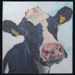 "Cloth Napkins (set of 4)  - 0254 Irish Friesian Co<br><div class=""desc"">0254 is a friesian cow with character,  who lives on our neighbours dairy farm. This painting was taken from photographs I took of her looking over our garden fence.</div>"