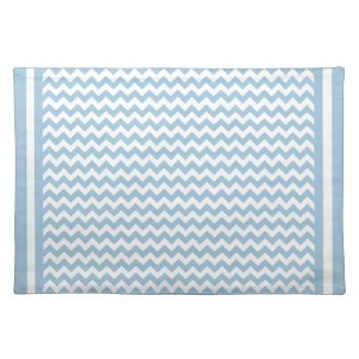 Cloth Place Mat, Blue and White Chevrons