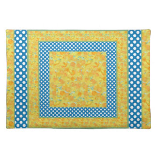 Cloth Placemat Country-Style Daffodils, Polka Dots