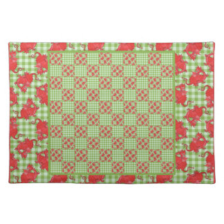 Cloth Placemat: Cute Red Dragons, Green Gingham Cloth Placemat
