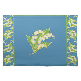 Cloth Placemat: Lilies of the Valley on Blue Cloth Place Mat