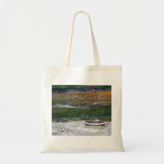 Cloth shopping bag with row boat in the slough