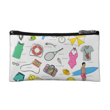 Beach Themed clothes, entertainment and travel makeup bag