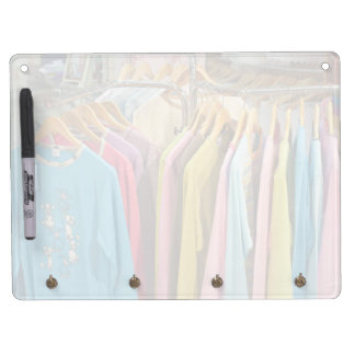 Clothes for sale dry erase board with keychain holder