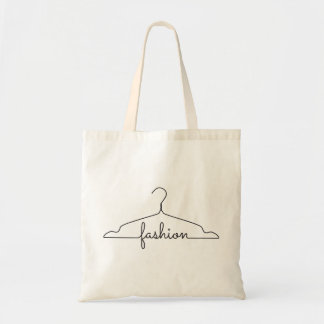 clothes hanger drawing with word fashion tote bag