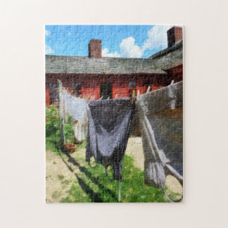 Clothes Hanging on Line Closeup Jigsaw Puzzle