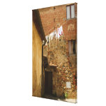 Clothes hanging to dry on a clothesline, canvas print