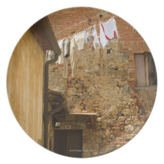Clothes hanging to dry on a clothesline, plate