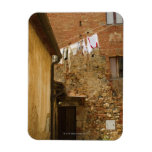 Clothes hanging to dry on a clothesline, rectangular magnet