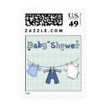 Clothes Line Baby Boy Shower Postage Stamp