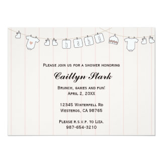 Clothes Line Baby Shower Customize 5.5x7.5 Paper Invitation Card