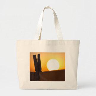 Clothes peg at sunrise canvas bags