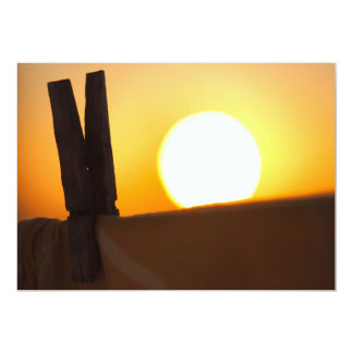 Clothes peg at sunrise card