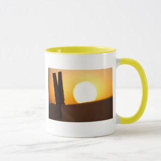 Clothes peg at sunrise mug