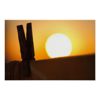 Clothes peg at sunrise posters
