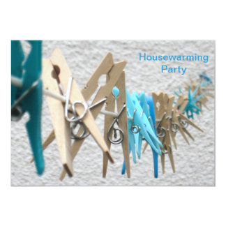 Clothes Pegs on a Washing Line Housewarming Party Card