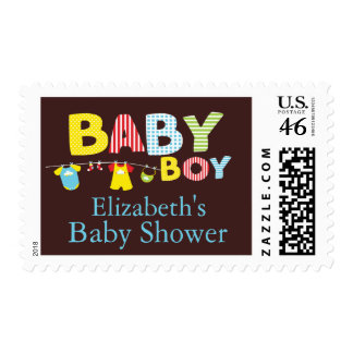 Clothesline Baby Boy Baby Shower Postage