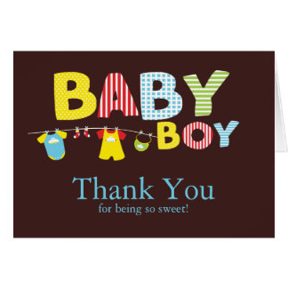 Clothesline Baby Boy Baby Shower Thank You Card