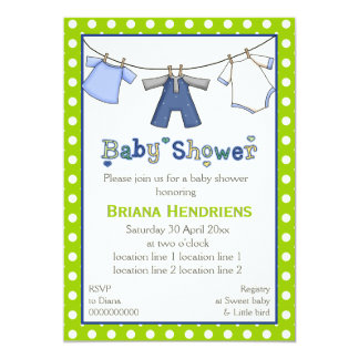Clothesline baby boy shower personalized 5x7 paper invitation card