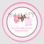 Clothesline Baby Girl CIRCLE Custom Favor Stickers
