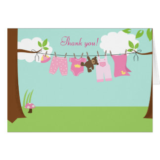 Clothesline Baby (Girl) Folded Thank you notes