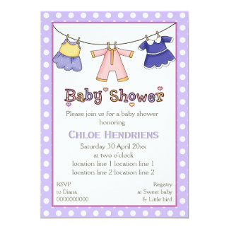 Clothesline baby girl shower personalized 5x7 paper invitation card