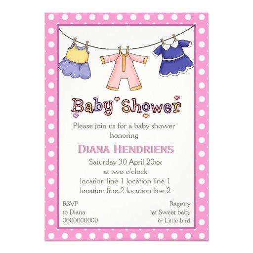 clothesline baby girl shower personalized invitations zazzle