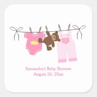 Clothesline Baby Girl SQUARE Custom Favor Stickers