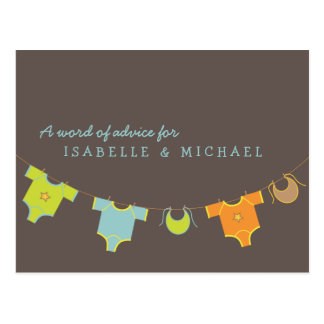 Clothesline Baby Shower Advice Card Blue | Green