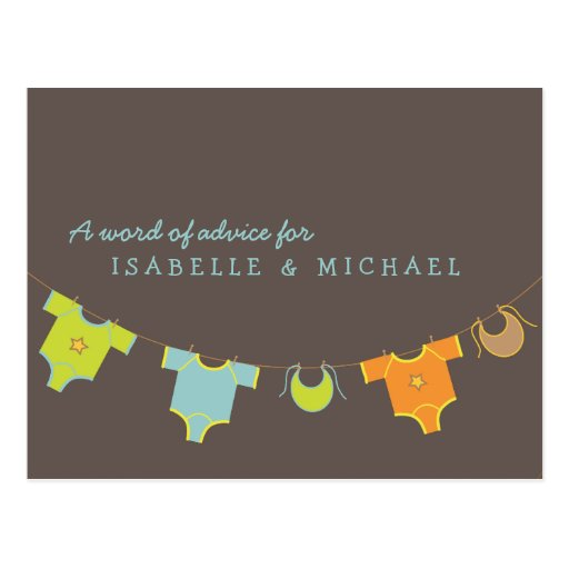 Clothesline Baby Shower Advice Card Blue | Green Post Cards