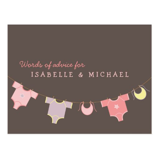Clothesline Baby Shower Advice Card Pink | Lilac Post Cards
