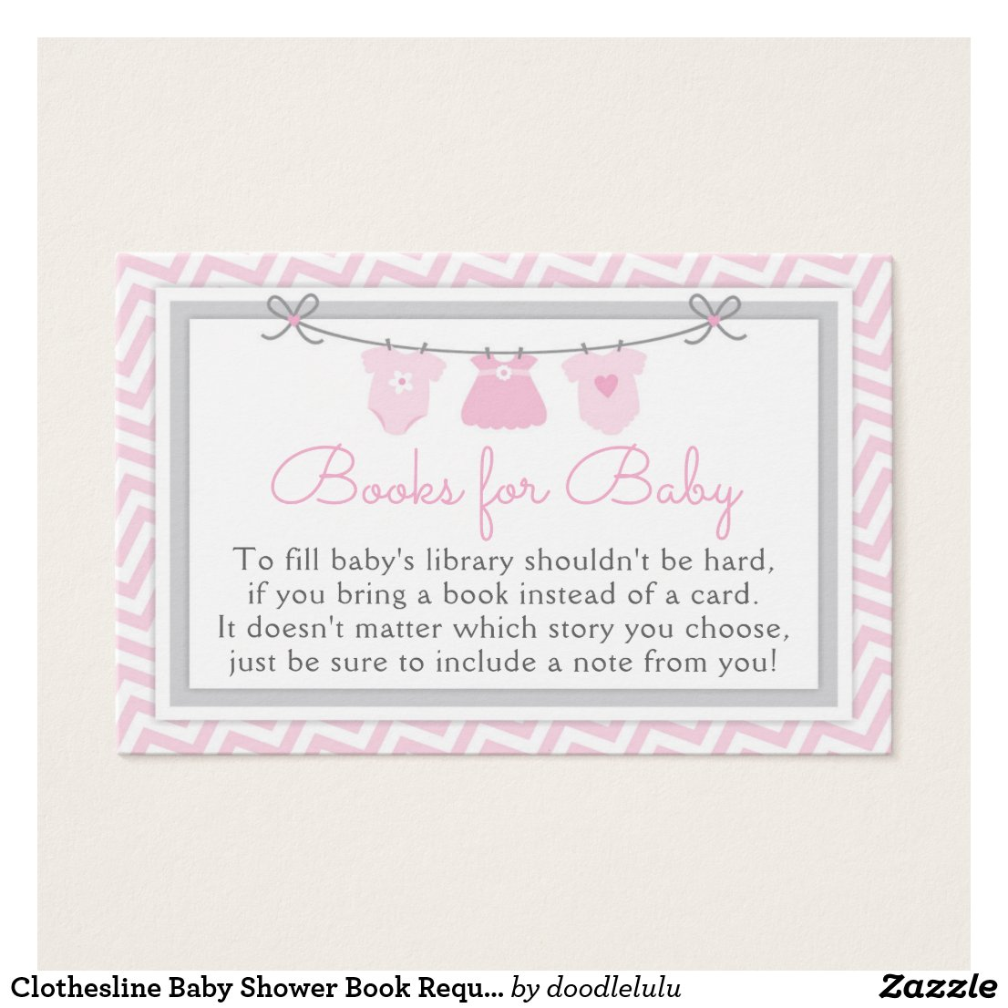 Clothesline Baby Shower Book Request Card