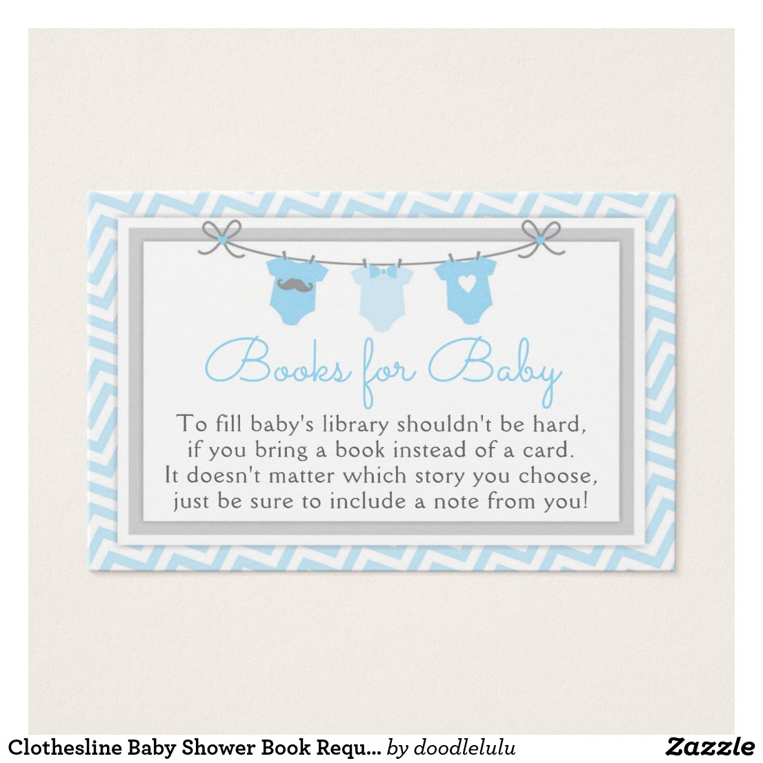 Clothesline Baby Shower Book Request Card blue