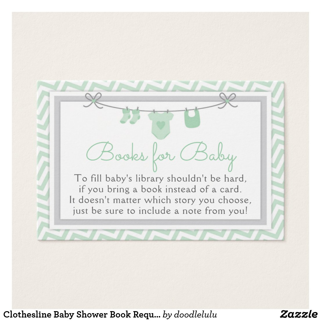 Clothesline Baby Shower Book Request Card green