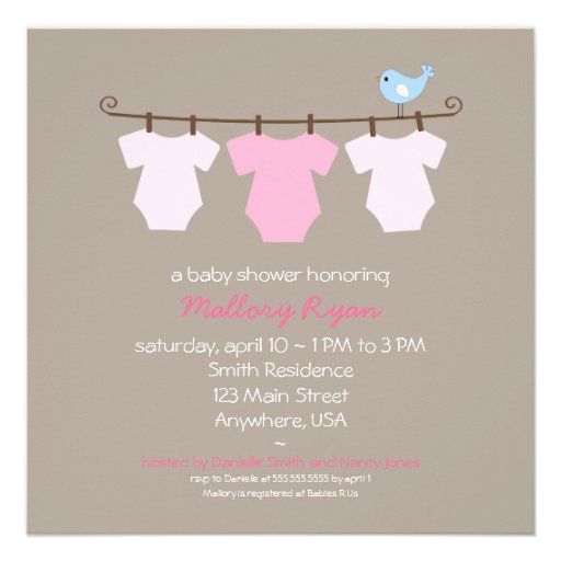 clothesline baby shower invitation square invitation card