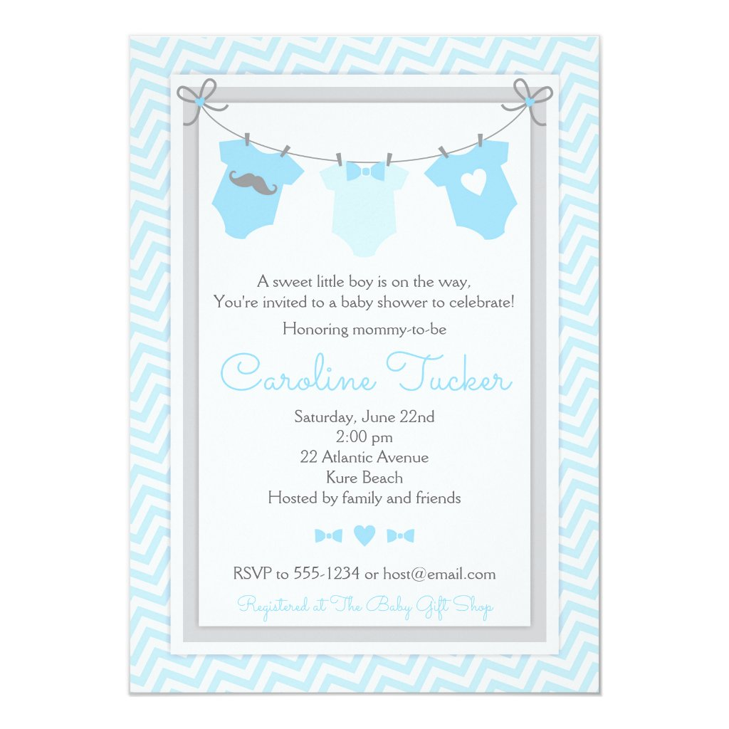 Clothesline Baby Shower Invitation blue and gray