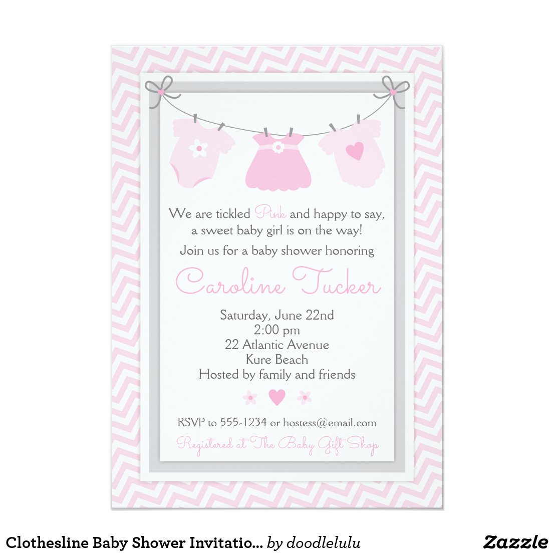 Clothesline Baby Shower Invitation pink and gray