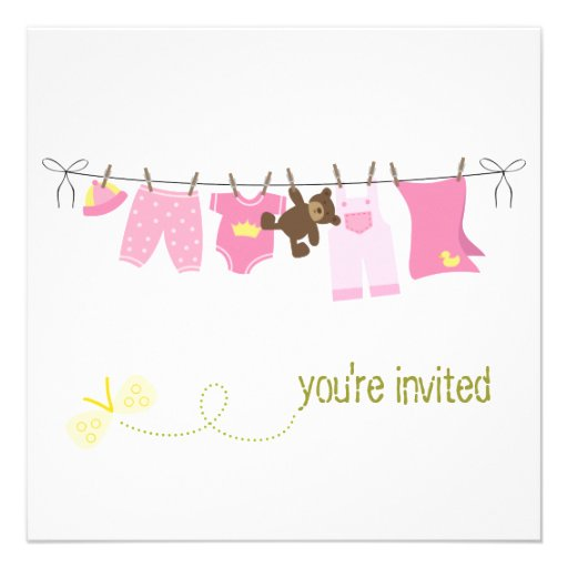 clothesline baby shower invitations 5 25 square invitation card