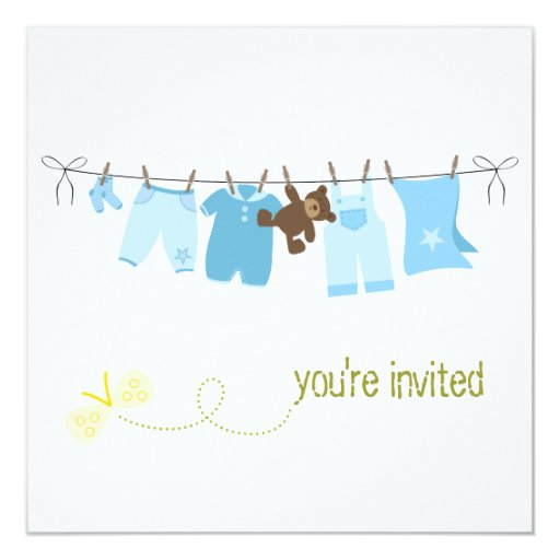 Clothesline Baby Shower Invitations