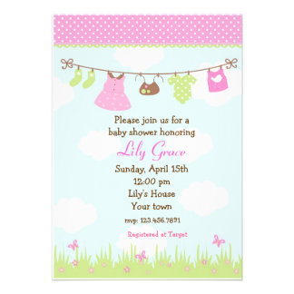 Clothesline Baby Shower Invitations Girls