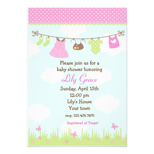 clothesline baby shower invitations girls 5 x 7 invitation card