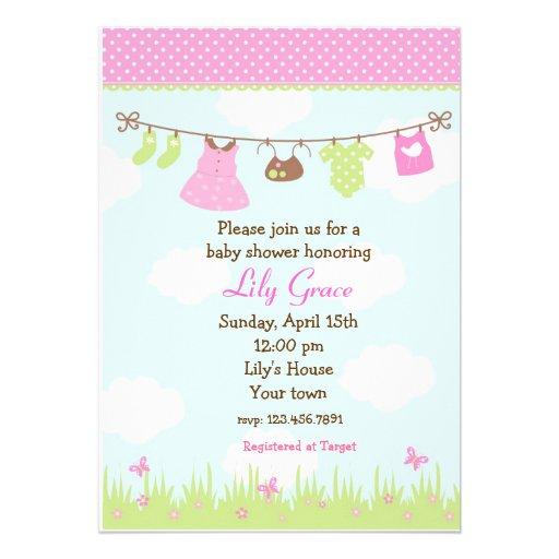 clothesline baby shower invitations girls 5 x 7 invitation card