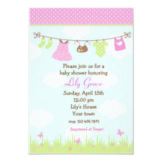 Clothesline Baby Shower Invitations Girls