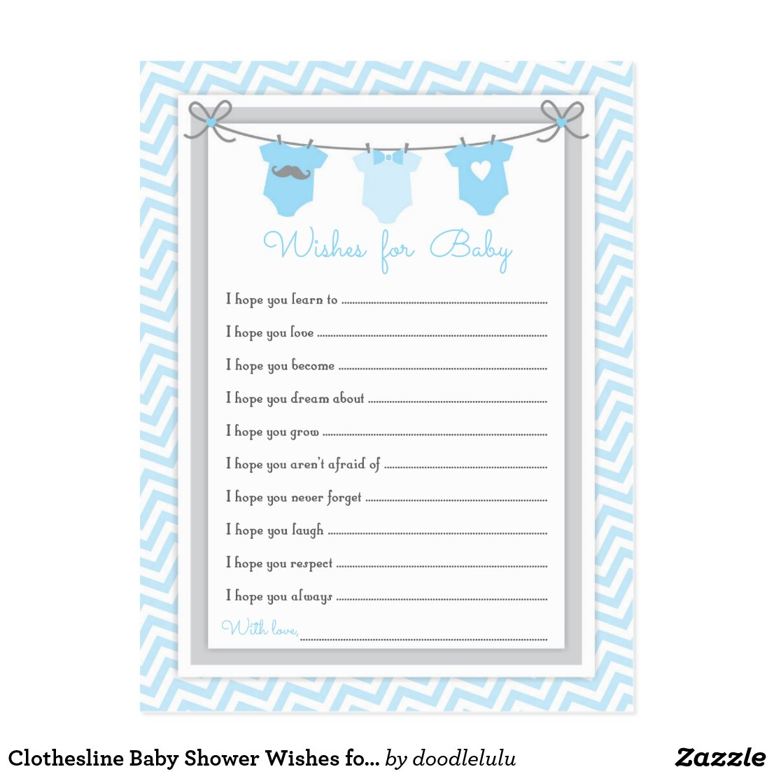 Clothesline Baby Shower Wishes for Baby blue-gray Postcard