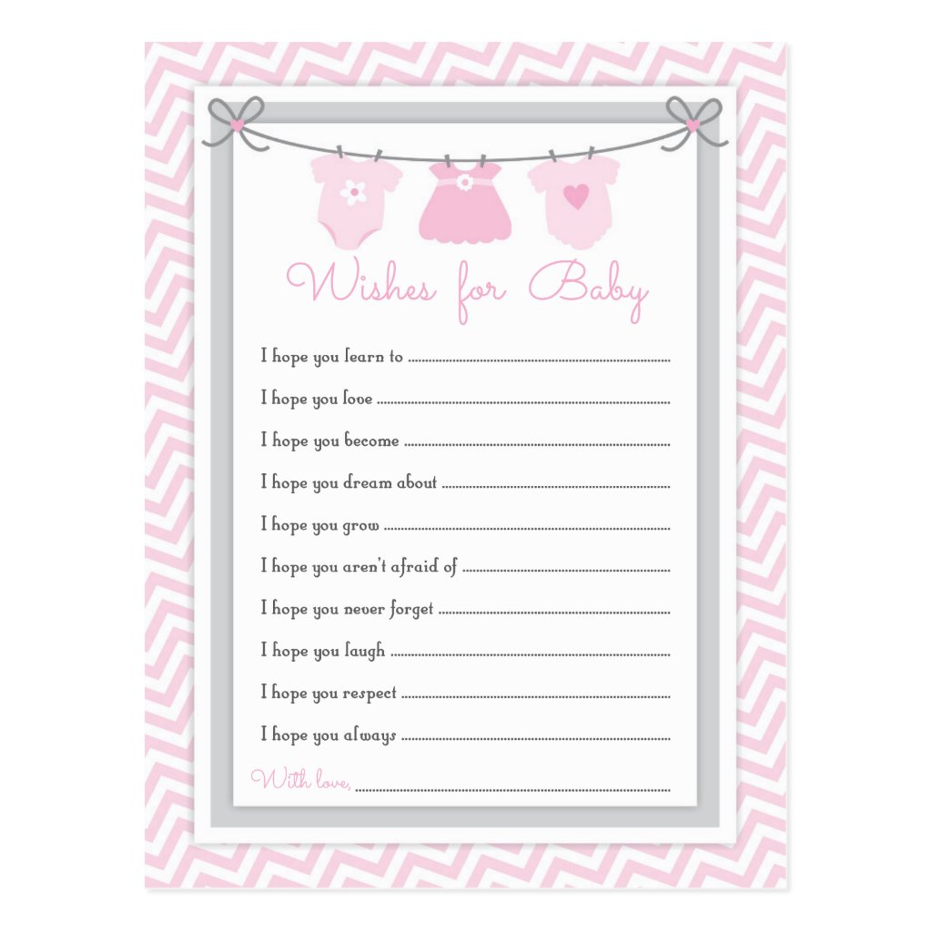Clothesline Baby Shower Wishes for Baby pink-gray Postcard